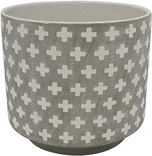 Rivet Rustic Cross-Patterned Stoneware Planter, 6.3