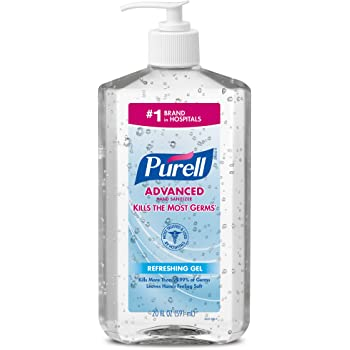 PURELL Advanced Hand Sanitizer, Refreshing Gel, Clean Scent, 20 fl oz Sanitizer Table Top Pump Bottles (Case of 12) - 3023-12