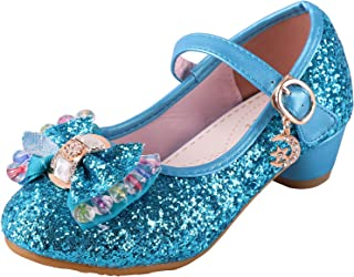 iTVTi Girls Glitter Princess Shoes Mary Janes Side Bow Low Heels Wedding Party Sandals