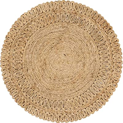 Unique Loom Braided Jute Collection Hand Woven Natural Fibers Round Rug, 3 Feet 3 Inch