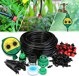 AGSIVO Drip Irrigation Kit Sprinklers System for Garden Included 25Meter Irrigation Tubing Hose Timer Drippers and Various Watering Drip Kits