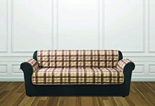ReadyFit by SureFit Reversible Quilted Check Sofa Furniture Protector, Tan Plaid Reverse to Tan Solid 1-Piece Design with ...