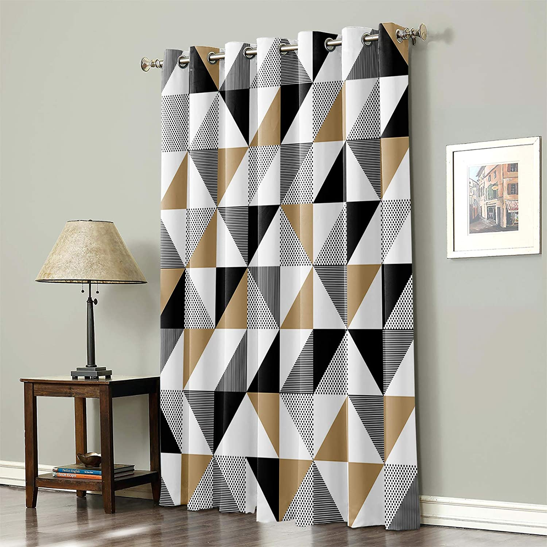 Blackout Curtain for Bedroom Modern 国際ブランド 完売 Block Geometry Simple Patte