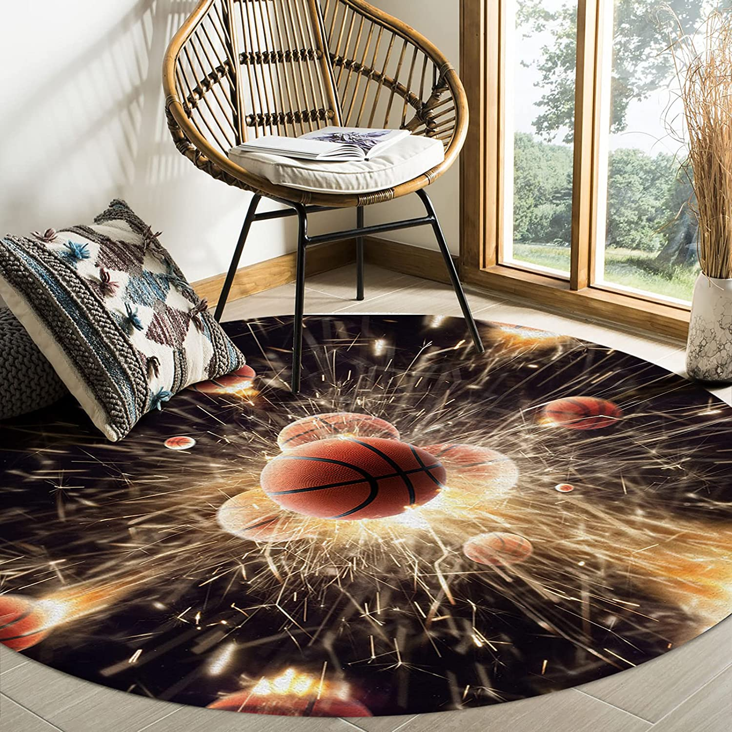 Olivefox OFFicial Round Area Soldering Rugs Splas Basketball Passionate Competition