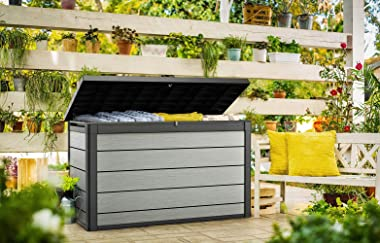 Keter Denali 200 Gallon Resin Large Deck Box-Organization and Storage for Patio Furniture, Outdoor Cushions, Garden Tools and