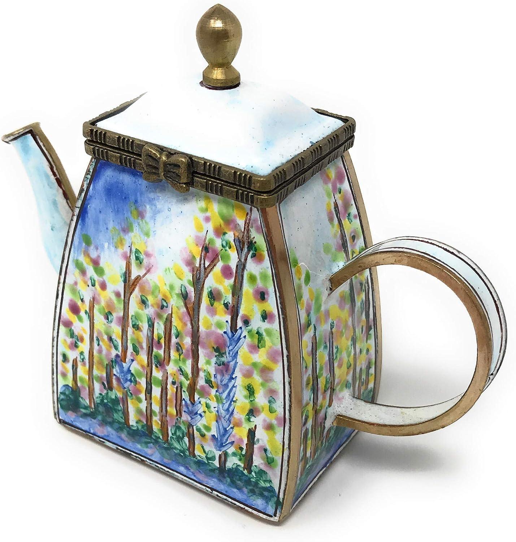 Kelvin Chen Monet Max 49% OFF Poplars Enameled favorite Hinged Teapot Miniature with