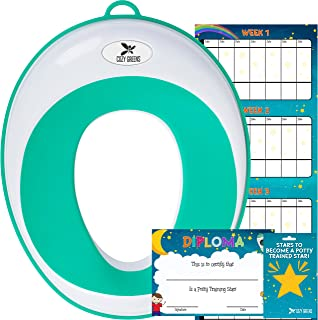 Potty Training Seat for Boys and Girls | Toddler Potty Ring | Fits Most Round and Oval Toilets | Free Folding Toilet Training Chart, Kids Toilet Training Essentials | Gift Box