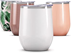 Maars Drinkware Maars Bev Steel Stemless Wine Glass Tumbler, 12 oz - Double Wall Vacuum Insulated-Glitter Moonrock, 1 Pack