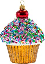 Miss Christmas 2019 Collection Cupcake with Cherry on Top 4.5-Inch Blown Glass Christmas Tree Ornament (Rainbow Sprinkles)