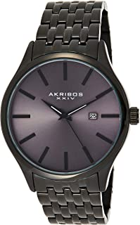 Akribos XXIV Men's Radiant Sunray Dial Watch - Accented Dial with Date Window On Stainless Steel Bracelet - AK941