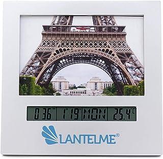 Lantelme Digital Innen Thermometer Analog Foto Bilderrahmen Innenthermometer Datum Uhr Wecker Alarm 3267