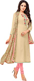 Rajnandini Women's Tan chanderi silk Embroidered Semi-Stitched Salwar Suit Material With Printed Dupatta (Free Size)