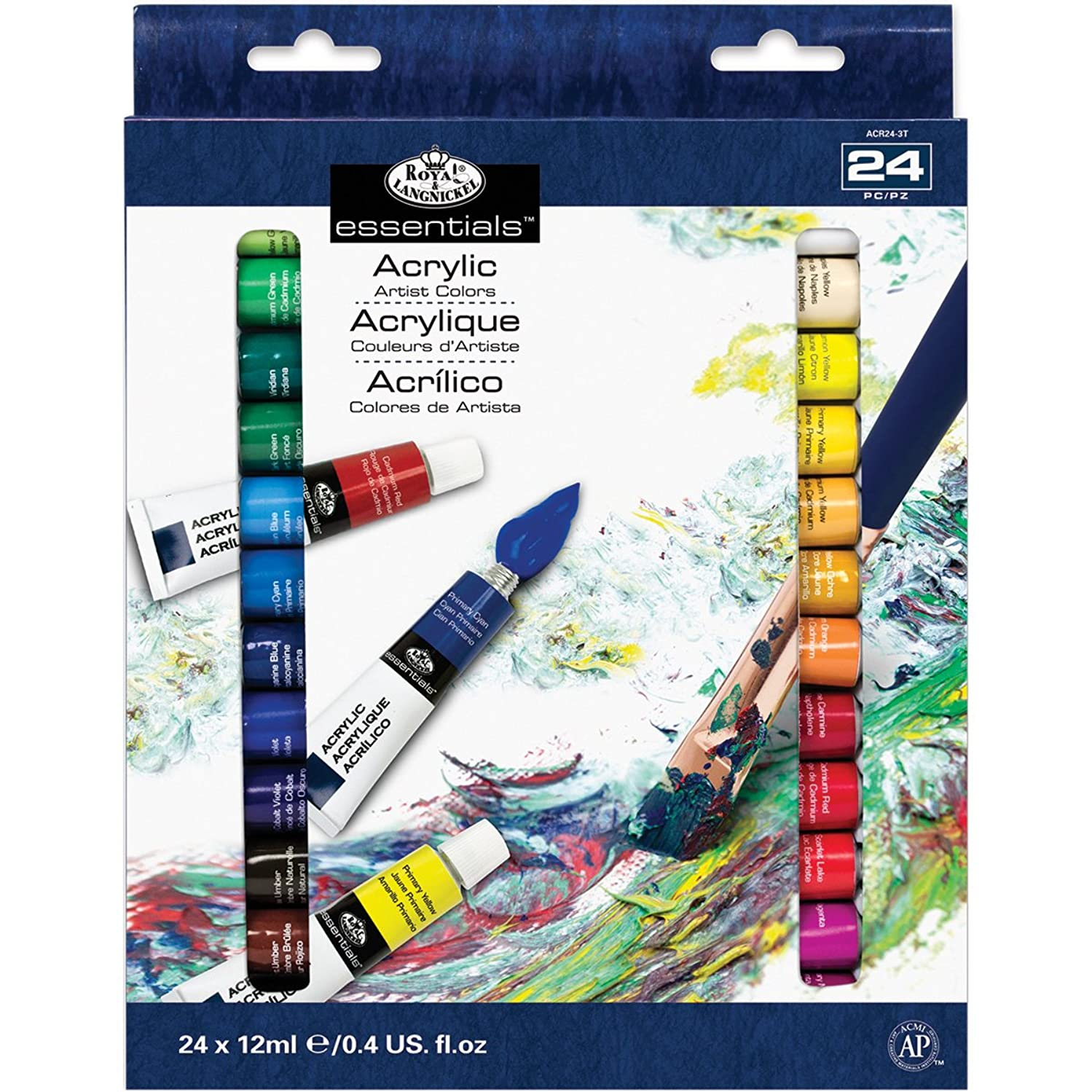 Royal & Langnickel Acrylic Color Artist Tube Paint, 12ml, 24-Pack