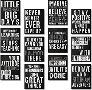 12 Pieces Inspirational Wall Posters Cardboard Motivational Quote Posters Chalkboard Positive Affirmation Art Posters with 80 Glue Point Dots for Office Gym Living Room Bedroom Home, 11 x 14 Inch