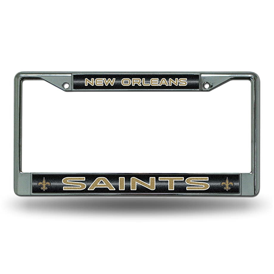 NFL Los Angeles Rams Bling Chrome License Plate Frame with Glitter Accent
