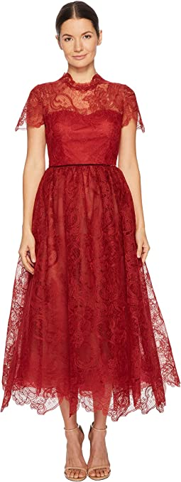 Marchesa Notte - Short Sleeve Wired Lace Tea Length Gown with Velvet Ribbon