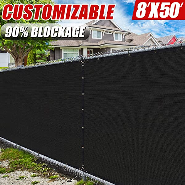 Amgo 8 X 50 Black Fence Privacy Screen Windscreen With Bindings Grommets Heavy Duty For Commercial And Residential 90 Blockage Cable Zip Ties Included Available For Custom Sizes