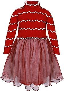 فستان شتوي للفتيات بأكمام طويلة ومموج من قماش التول اللامع وتنورة من التل اللامع