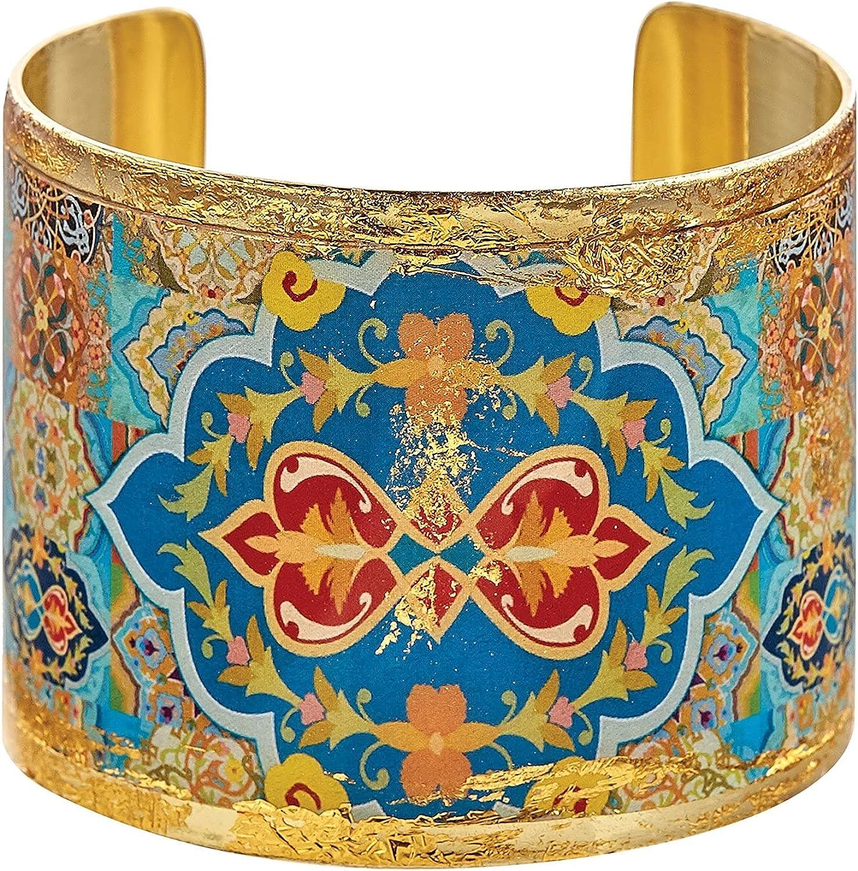 FLORIANA Women's Arabesque Cuff Bracelet - 24K Gold Leaf, Brass