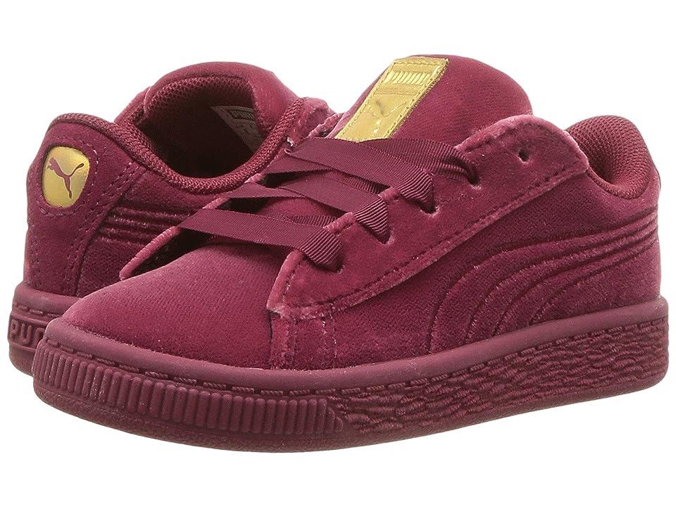 Puma Kids Basket Classic Velour (Toddler) (Tibetan Red/Metallic Gold) Girls Shoes