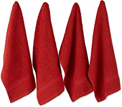 """DII Cotton Waffle Terry Dish Towels, 15 x 26"""" Set of 4, Ultra Absorbent, Heavy Duty, Drying & Cleaning Kitchen Towels-Red"""