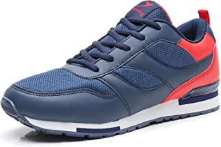 Men's Running Tennis Shoes Fashion Sneakers Lace Up Non-Slip Gym Athletic Sports Shoes US12 Navy Blue