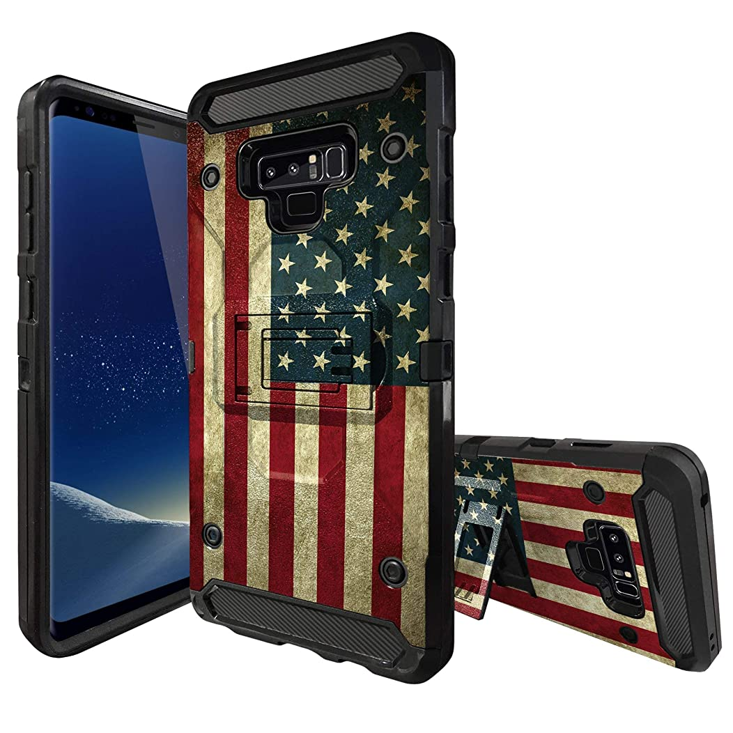 All-Around MINITURTLE Phone Case Compatible with Samsung Galaxy S8 (SM-G950) Kickstand + 360° Holster Combo [Built-Tough][3-Piece Case] - American Flag