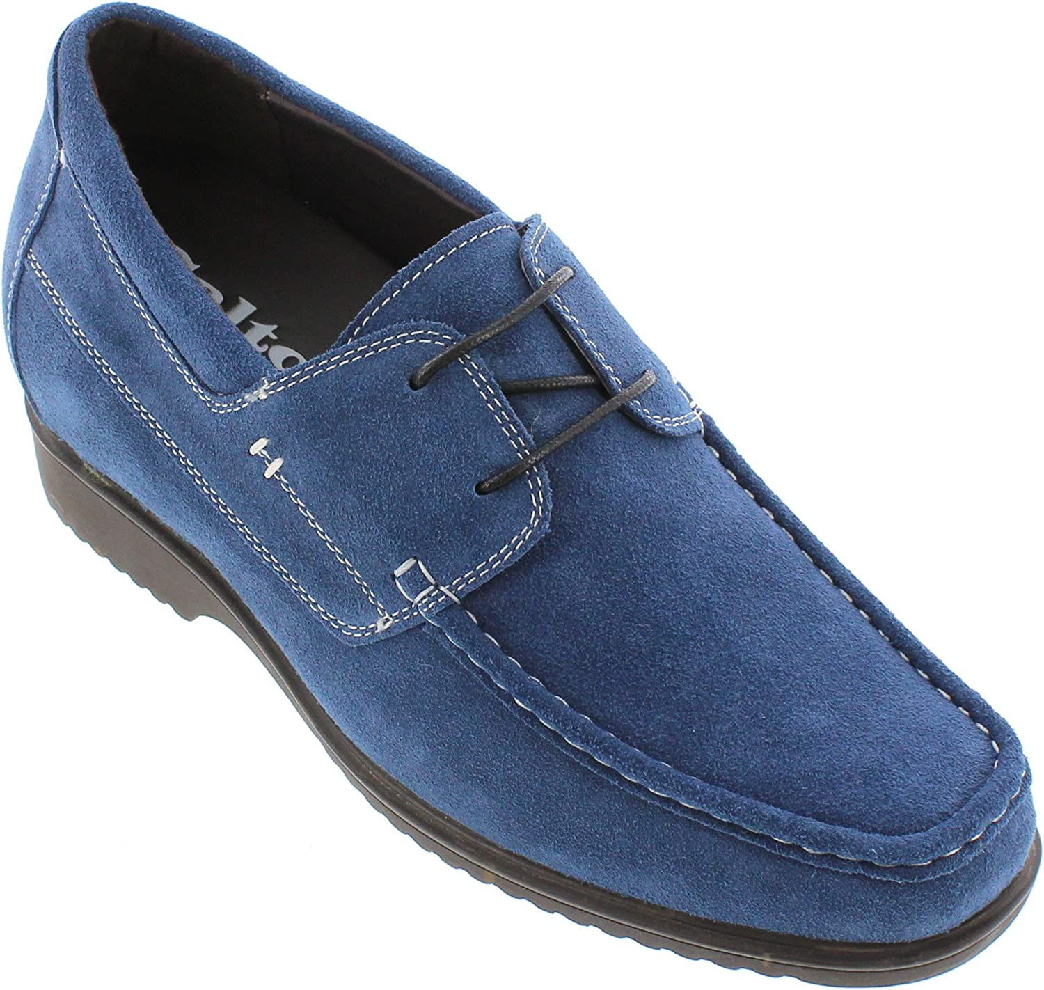 CALTO - G61213-3.3 Inches Taller - Size 11 D US - Height Increasing Elevator shoes (Nubuck bluee Lace-up Casual shoes)