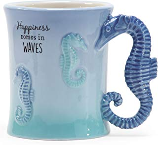 Department 56 6002195 Happiness Comes in Waves Seahorses Blue 16 Ounce Ceramic Coffee Mug