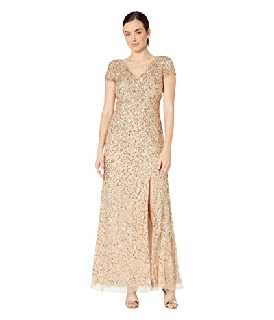 Adrianna Papell Short Sleeve Crunchy Bead Gown with Side Slit (Champagne/Gold) Women