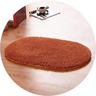 Show-Show-Fashion Shop&Brown Coffee Color Oval Rug Carpet Living Room Carpet Rugs Soft and Fluffy Warm Purple Green Grey 9 Color,Brown,60x90cm