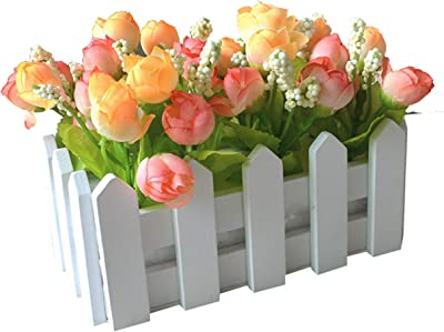Home & Garden Wedding Decor Artificial Tea Rose Simulation Artificial Flowers Small Potted Plant Fake Rose Set With White Picket Fence