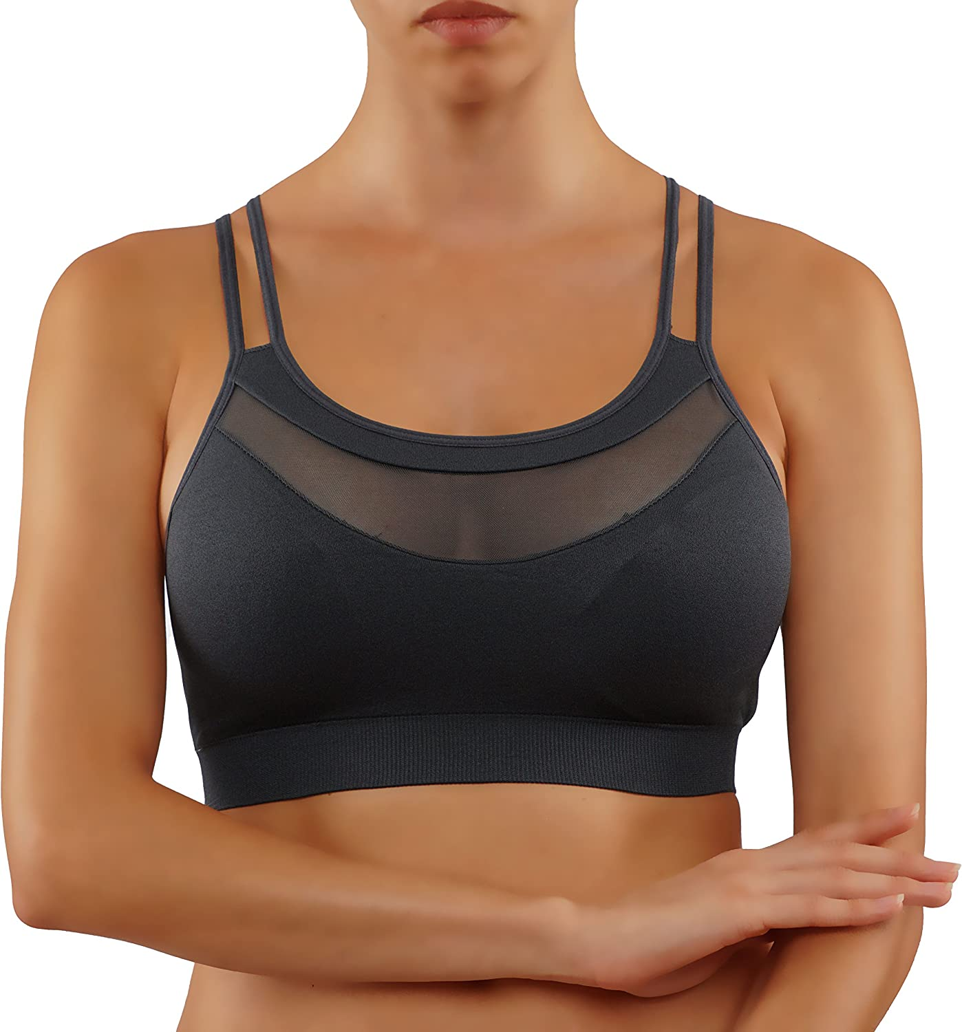 ROUGHRIVER Women's Max Quantity limited 41% OFF Yoga Top Sports Removable Paddin Wirefree Bra