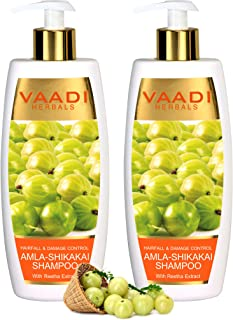 Vaadi Herbals Amla With Shikakai & Reetha Shampoo Hair Fall And Damage Control Shampoo All Natural Herbal Shampoo Paraben Free Sulfate Free Scalp Therapy Moisture Therapy Suitable For All Hair Types
