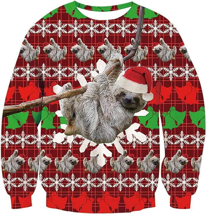 Idgreatim Unisex Ugly Christmas Crewneck Sweatshirt Novelty 3D Graphic Long Sleeve Ugly Christmas Sweaters