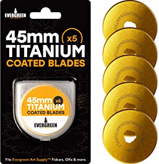 Evergreen Art Supply Titanium Coated Rotary Cutter Blades 45mm, 5 Pack - Replacement Blades for Fiskars, Olfa, Gingher and More - Cuts Fabric, Sewing, Leather and Paper - Quilting Blades