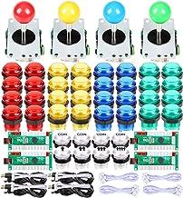 EG STARTS 4 Player Classic DIY Arcade Joystick Kit Parts USB Encoder To PC Controls Games + 4/8 Way Stick + 5V led Illumin...