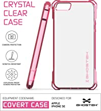 Ghostek iPhone SE Case, Covert Series for Apple iPhone SE 5S 5 Premium Impact Protective Armor Case Cover | Clear TPU | Explosion-Proof Screen Protector | Ultra Fit (Rose Pink)