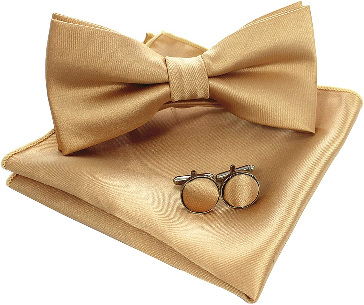 JEMYGINS Mens Solid Color Pre-tied Bow Tie and Pocket Square Cufflink Set