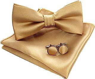JEMYGINS Mens Solid Color Solar از قبل کراوات کراوات و مجموعه دکمه دست پاچه ای پاکت پی سی