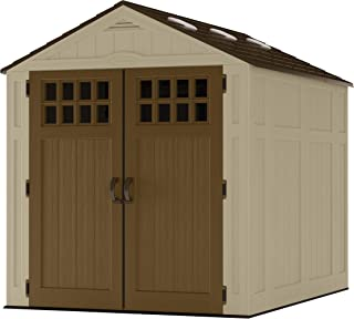 Suncast 6` x 8` Everett Vertical Storage Shed - Outdoor Storage for Backyard Tools and Accessories - All-Weather Resin Material, Transom Windows and Shingle Style Roof - Wood Grain Texture