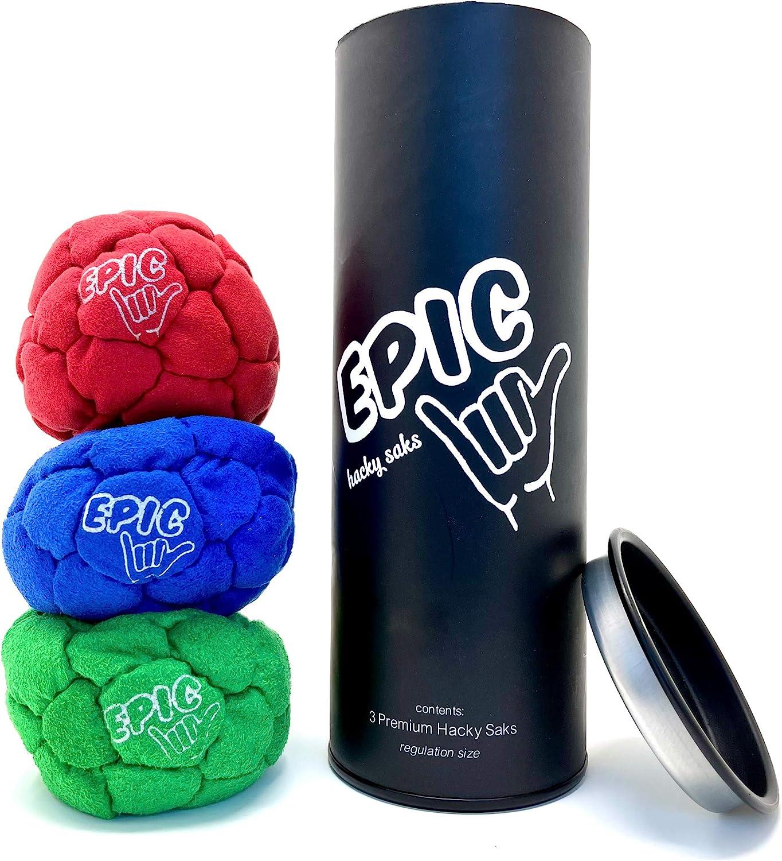 Epic Hacky Sack Regular discount Balls 3 SALENEW very popular Footbag with Tube Storage Gift Set