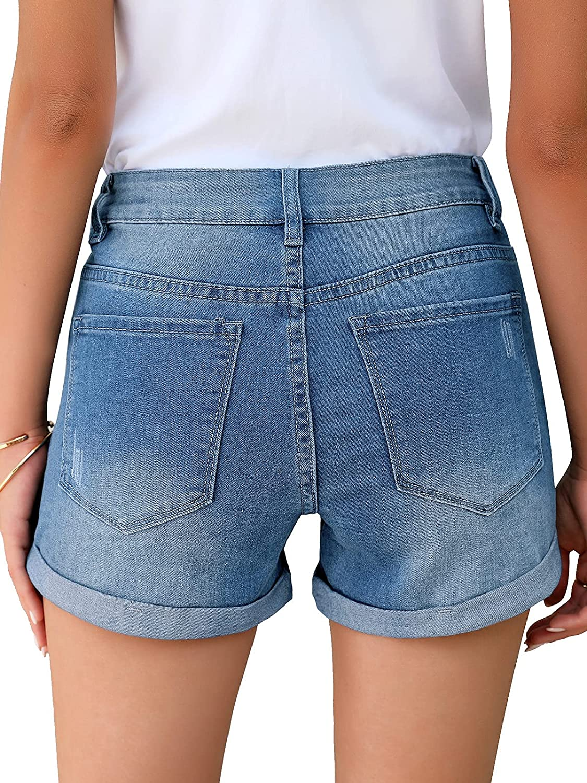 Mcloyoe Women's Mid Rise Stretchy Rolled Hem Denim Jean Shorts