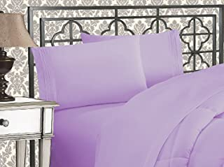 Elegant Comfort 1500 Thread Count Wrinkle & Fade Resistant Egyptian Quality Ultra Soft Luxurious 4-Piece Bed Sheet Set with Deep Pockets, Queen Lilac