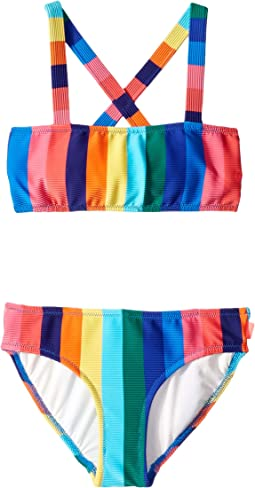 Rainbow Crush Stripe Mini Tube Bikini Set (Little Kids/Big Kids)
