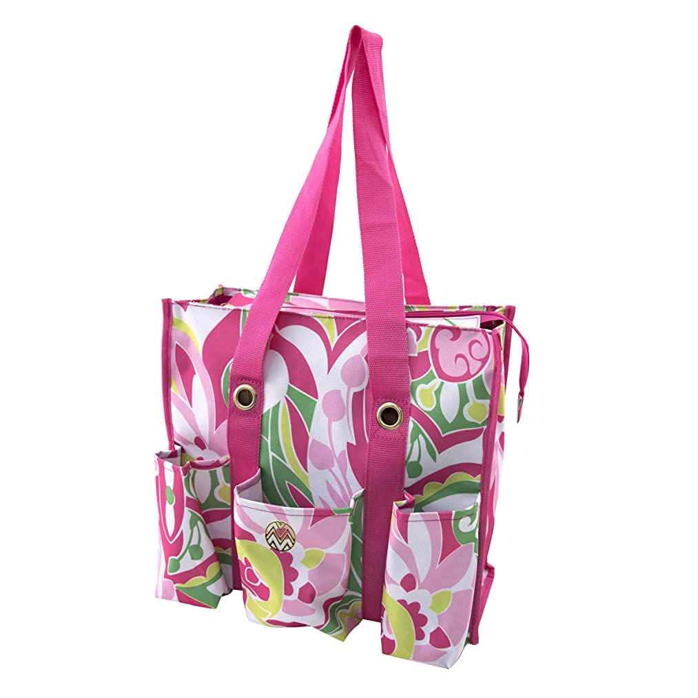 Storage Studios Macbeth Shoulder Tote, 6.5 x 14 x 14.5 Inches, Pink, White, Yellow, and Green (CH93544)
