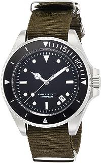 [ブルッキアーナ]BROOKIANA 腕時計 日本製自動巻ムーブメント NH35搭載(手巻付) デイト表示 逆回転防止ベゼル ブラック×カーキナイロン BA1684-SBNGR メンズ 腕時計