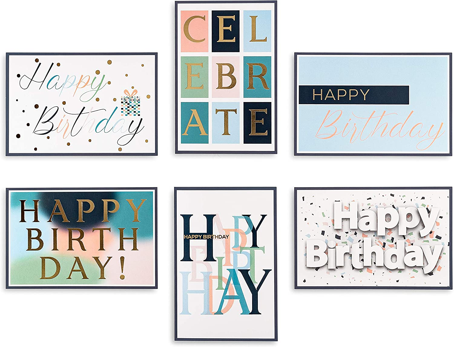 Happy Manufacturer New Free Shipping regenerated product Birthday Cards Box - Assorted 48 with Envel