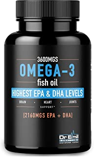Dr. Emil - Omega 3 Fish Oil (3600mg) - Highest EPA and DHA Levels (2160 mgs) - Burpless Super Absorption Softgels - Wild-Caught and Distilled for Purity