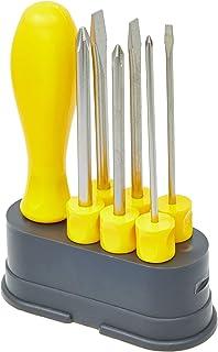 Tramontina 41110506 Jogo de Chaves de Fenda com Pontas Intercambiáveis, Conjunto de 6 Peças, Amarelo